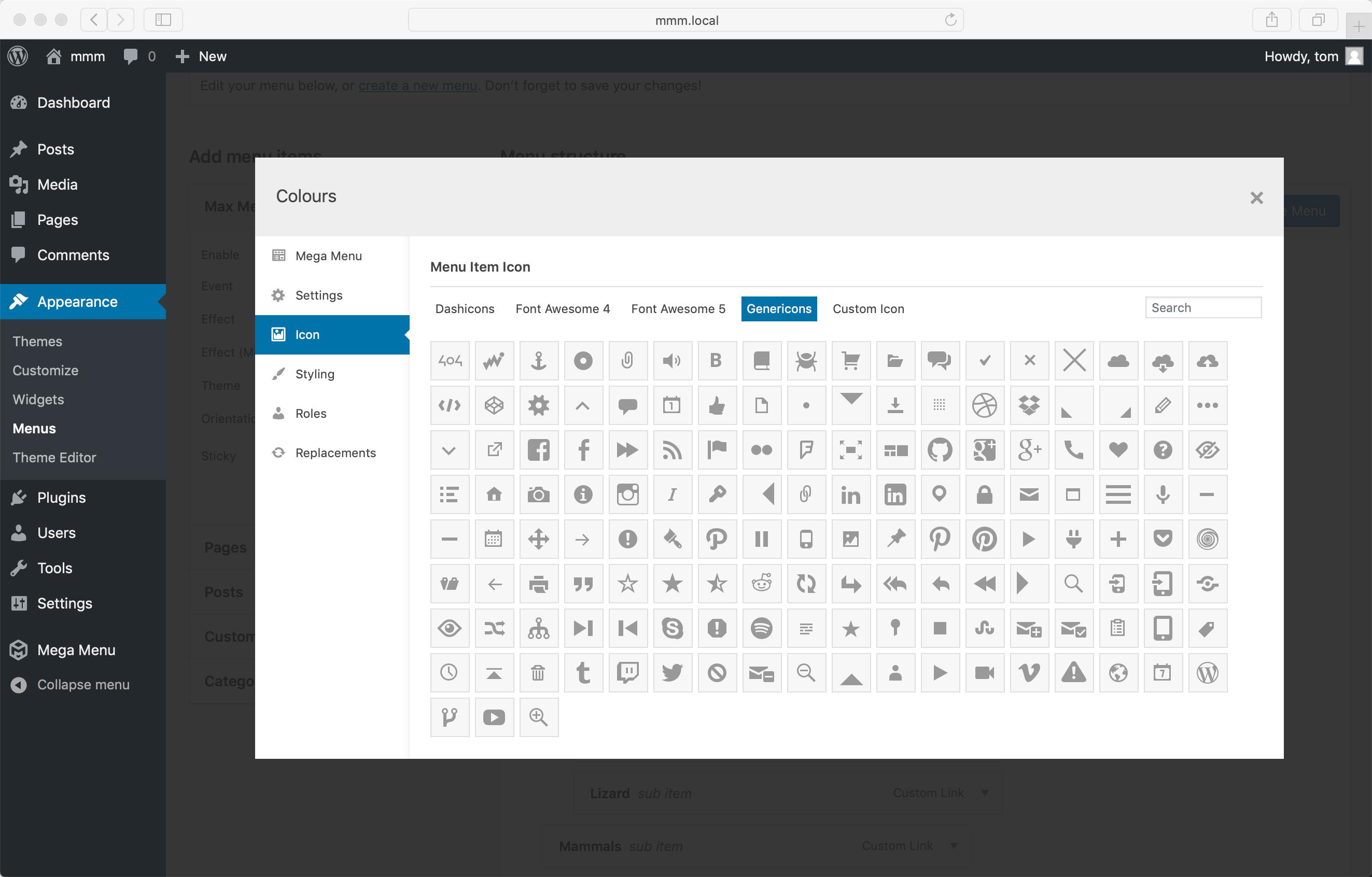 Genericons selector admin screenshot