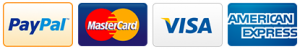 We accept PayPal, Visa, Mastercard and American Express