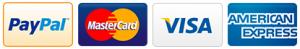 We accept PayPal, Visa, Mastercard and American Express