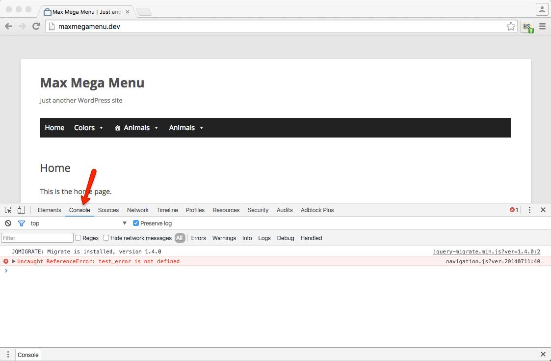 JavaScript Errors – Max Mega Menu