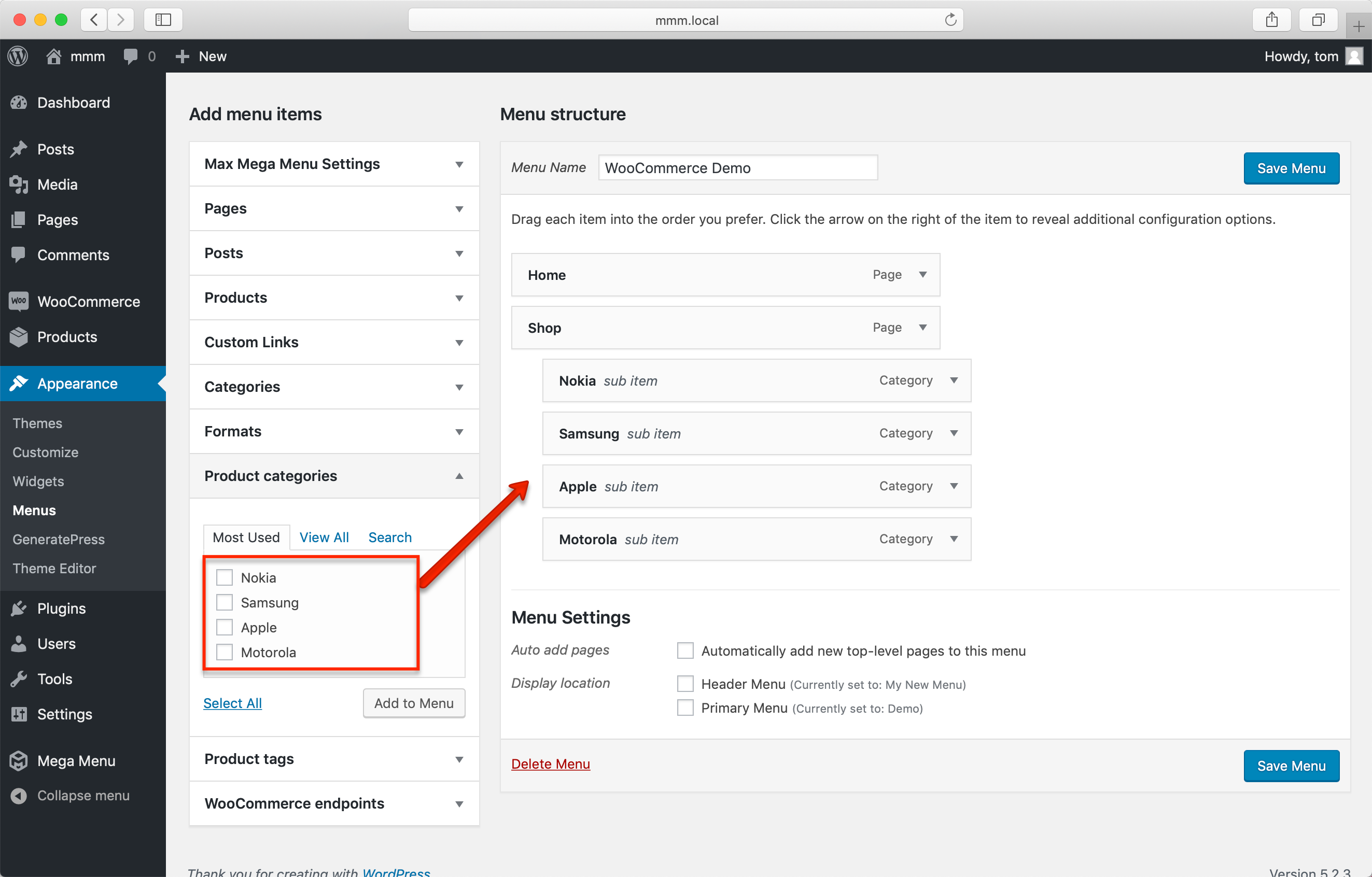 Adding WooCommerce categories to a WordPress menu