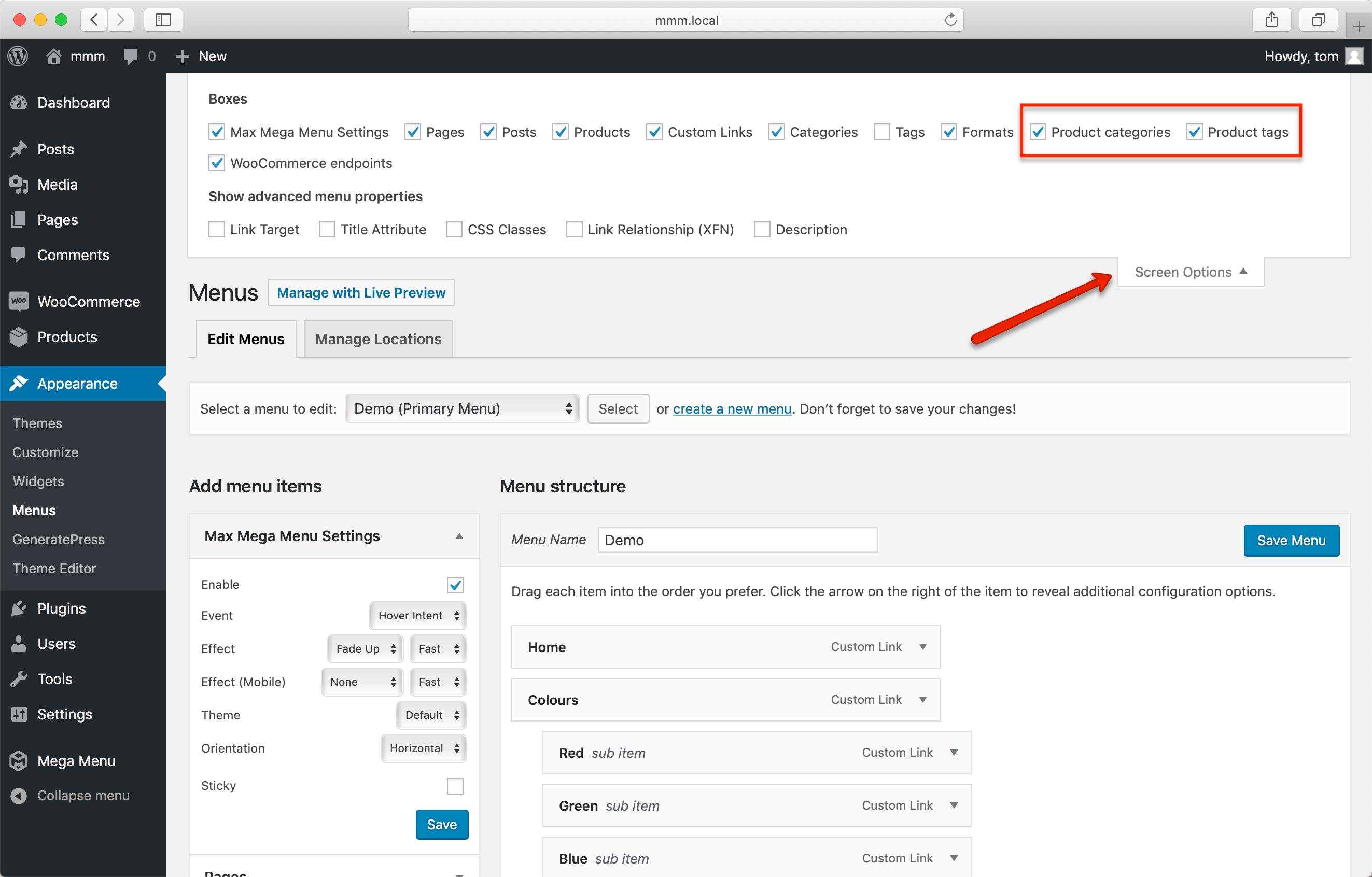 Screenshot showing screen options on nav-menus.php page